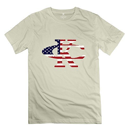 [TBTJ Kenny Chesney KC US Flag Logo T Shirts For Men Natural Large] (Kenny Chesney T-shirt)