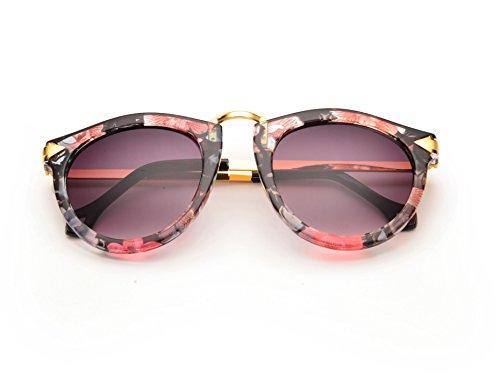 REINDEAR Women's Unisex Arrow Style Sunglasses Metal Frame Round Sunglasses US Seller (Flower)