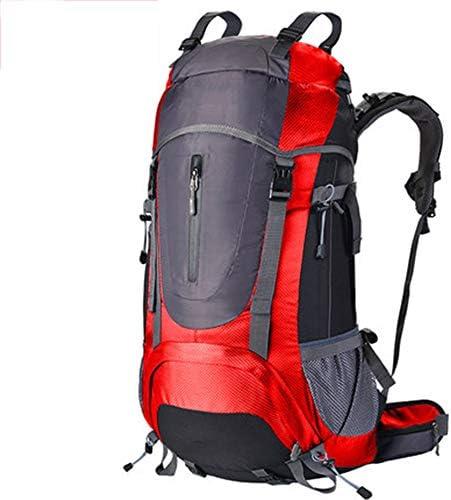 60Lアウトドアスポーツハイキングバックパック、 ナイロン布、 ロッククライミング、 男性と女性,Red