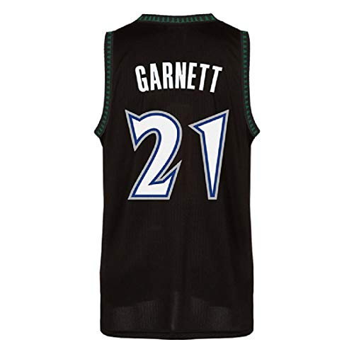 Cedahar Garnett Jersey Men's Minnesota 21 Jerseys Kevin Basketball Jersey Black Blue and White (M, Black)