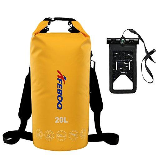 Dry Bag ( waterproof bag ) Pro-Waterproof Phone Dry Sack long adjustable Shoulder Strap,Perfect For Kayaking,Boating,Canoeing,Fishing,Rafting,Swimming,Camping,Snowboarding (Yellow, 20L)