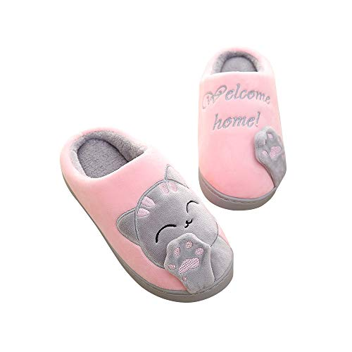 Maybolury Girls Boys Cute House Slippers,Kids Fur Lined Indoor Home Slippers Warm Winter Indoor Slippers Shoes