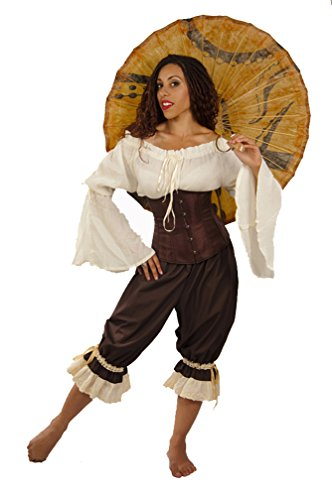 Dress Like A Pirate Wench Renaissance Steampunk Cotton Bloomers (XXXL, Brown with Ivory Lace) (Vampire Fancy Dress Women)