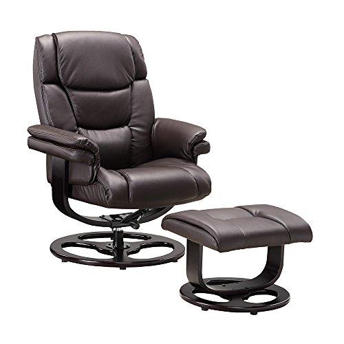 Executive Recliner Chair Bonded Leather Black Brown Cream Armchair Footstool Circle or Star Base Home Office Furniture (Circle Base, Brown)