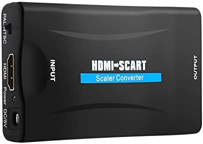 Justech HDMI a SCART Convertidor Entrada HDMI 1080P Salida SCART Video Compuesto HD Adaptador de Audio Estéreo para Sky HD DVD BLU Ray Apple TV PS3: Amazon.es: Electrónica