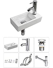 Wall Hung Basin Sink Small Cloakroom Basin Rectangle Ceramic Wash Basin Right Hand (Rectangle Sink Set(with Faucet&Drain))