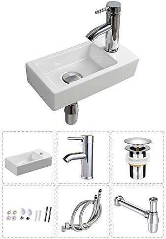 Wall Hung Basin Sink Small Cloakroom Basin Rectangle Ceramic Wash Basin Right Hand Rectangle Sink Set with Faucet Drain