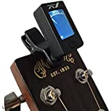 MeloAudio Tuner Clip-on Tuner for Guitar, Ukulele, Bass, Violin, Chromatic Tuning, Large Clear Colorful LCD Display, Calibrated Pitch