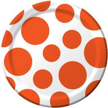 Orange Polka Dot 7 inch Cake/Dessert Plates (8 - Polka Dot Paper Plates Orange