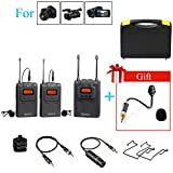 BOYA BY-DTUM48C UHF Dual-Channel Wireless Lavalier Microphone System with 48 Channels with by-UM2 Gooseneck Microphone for Canon Nikon ENG EFP DSLR Cameras Sony RX0 Camcorders