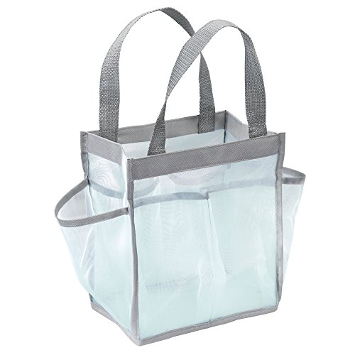 (iDesign Mesh Water-Resistant Shower Caddy Tote with Handles for Bathroom, College Dorm, Garden, Beach, 8.5