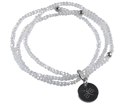 Stretch Bracelet for Women Handcrafted Glass Beads Three Strands Stainless Steel Dragonfly Tag (Dragon Glass Bracelet)