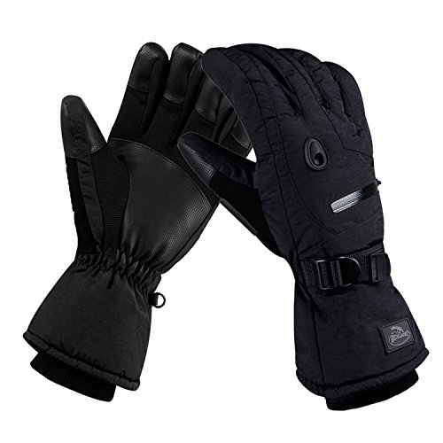 (CAMYOD Waterproof Ski Snowboard Gloves with 3M Thinsulate,Zipper Pocket, Air Vent, Cold Weather Gloves for Men(Pocket,XL))