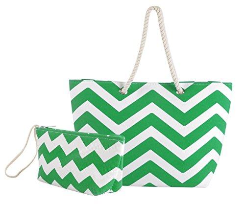 Eshma Mardini Striped Canvas Chevron Shoulder Beach Tote Bag with Pouch - Green by Ehsma Mardini
