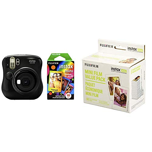 Fujifilm Instax Mini 26 + Rainbow Film Bundle - Black with Instant Film Value Pack - (3 Twin Packs, 60 Total Pictures)