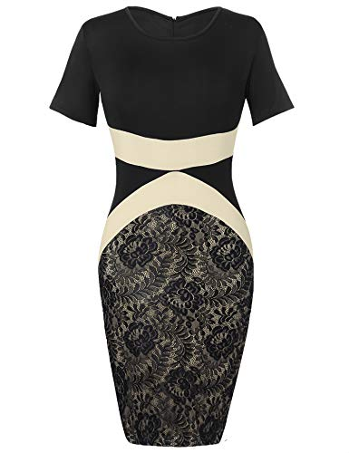Zeagoo Womens Retro 1950s Style Short Sleeve Slim Business Pencil Dress Lace Dresses