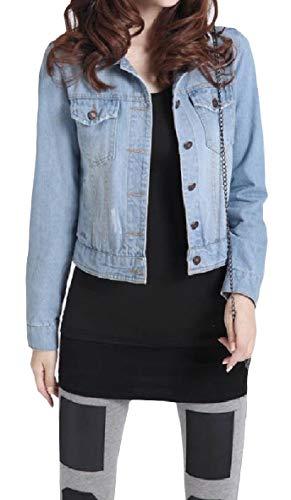 Tasto size Outwear Lunga Plus Luce Blu Tasca Xinheo Mini Denim Donne Giacca Manica aWSzwqvvE