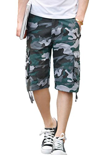 CANASOUR Outdoor Men's Twill Cargo Shorts (40, Blue Camouflage) ()