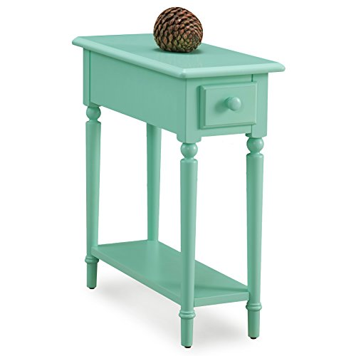 Leick 20017-GN Coastal Narrow Chairside Table with Shelf, Kiwi Green