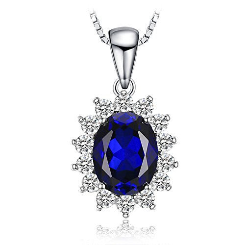 JewelryPalace Oval 3.2ct Princess Diana William Kate Middleton's Created Blue Sapphire Pendant 925 Sterling Silver Pendant Necklace 18 inches