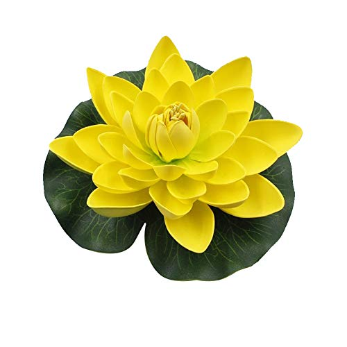 - Aland-Artificial Lotus Flower Fake Floating Water Lily Garden Pond Fish Tank Decor - Yellow