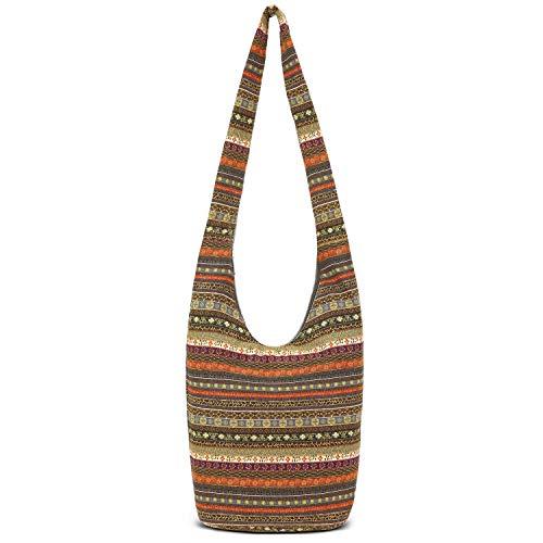 Coton Pose Women Hand Fashion canvas Crossbody Bags Cotton Bohemian Animal Prints Hobo Bags (Grey), long9.5