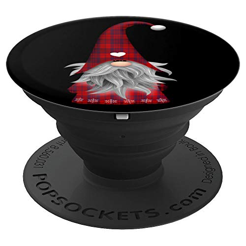 Plaid Santa Claus Christmas Garden Gnome - PopSockets Grip and Stand for Phones and Tablets ()