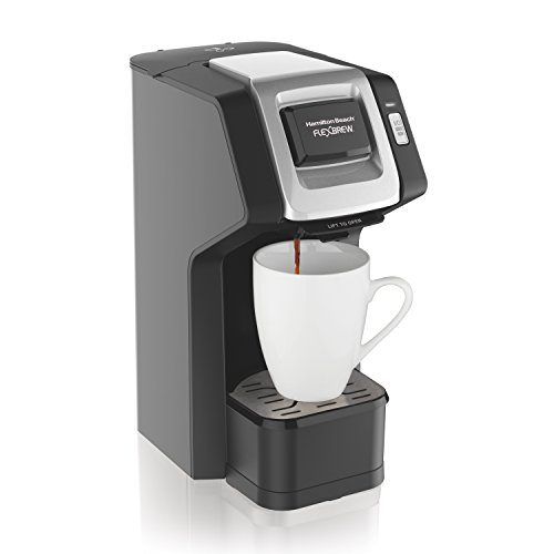 - Hamilton Beach (49974) Single Serve Coffee Maker, Compatible with pod Packs and Ground Coffee, Flexbrew, Black