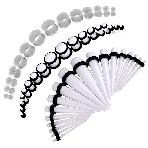 (BodyJ4You 50PC Gauges Kit White Taper Single Double Flare Acrylic Silicone Plugs 14G-12MM Jewelry)