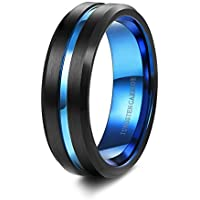 Tungary 7mm Mens Black Matte Finish Tungsten Carbide Rings Blue Groove Wedding Band Engraved Size 6 to 14