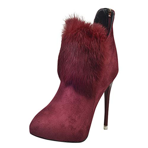 Women's Wide Width Ankle Booties -Fine Heel Classic Low Stacked Heel Round Toe Suede Hairy Comfy Boots ()