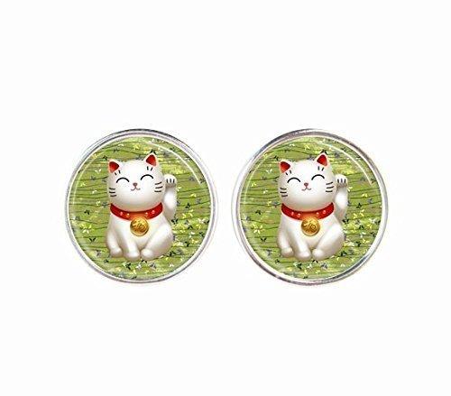 Vintage Cute Maneki Neko Pattern Earrings Accessories-Antique Earrings-Cat Ear Rings-Art Stud Earrings-Silver Post Jewellery-Handmade Jewelry-Glass Ear Studs Fashion Jewelry