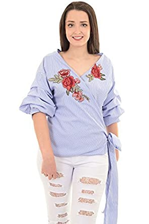 d8c37c89b7446c Ladies 3/4 Ruffle Sleeve Wrap Front Gingham Tie Up Floral Embroidery Blouse  Top [Blue Check, OneSize]: Amazon.co.uk: Clothing