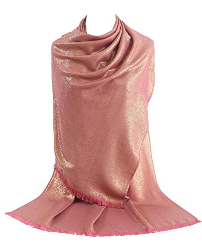 Rose Wrap - MissShorthair Women's Metallic Soft Pashmina Shawl Wrap Scarf in Solid Colors (27