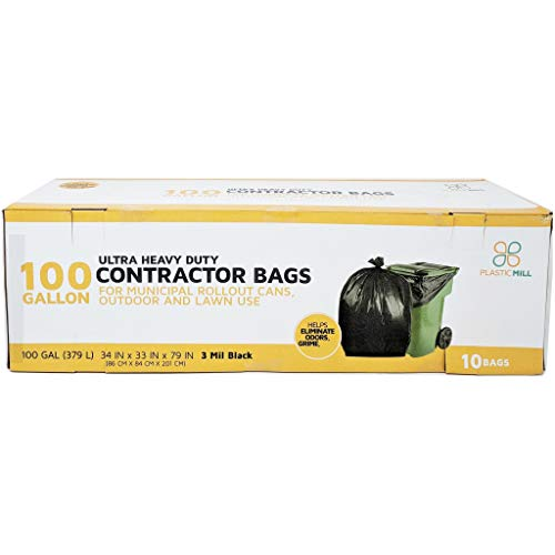 PlasticMill 100 Gallon Contractor Bags: Black, 3 Mil, 67x79, 10 Bags.