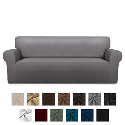 Easy-Going Fleece Stretch Sofa Slipcover - Spandex Anti-Slip Soft Couch Sofa Cover, Washable Furniture Protector with Anti-Skid Foam and Elastic Bottom for Kids, Pets(Sofa,Light Gray) (Couch Microfiber Light Grey)