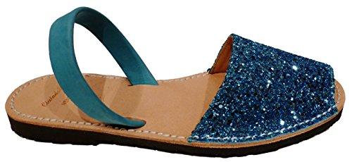 Menorcan sandals, glitter various colors, for women, avarcas menorquinas, abarcas, albarcas, Glitter turquesa