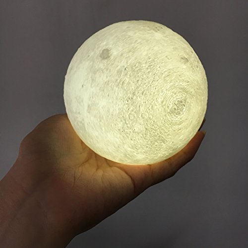 CPLA Lighting Night Light LED 3D Printing Moon Lamp, Lunar Lamp Dimmable Touch Control Brightness 3000k 6000k with USB Charging, Rechargeable Home Decorative Lights, Diameter 3.9 inch