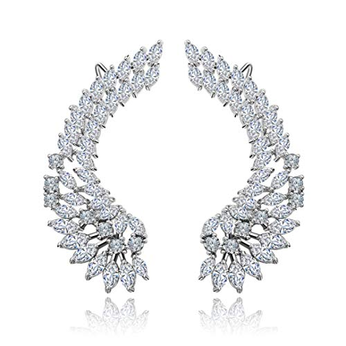Luxury Lady's Silver Post Cubic Zircon Crystal Angel Wing Ear Sweep Wrap Cuff Climber Earrings