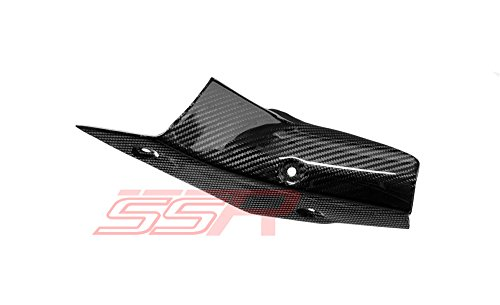 (2015-2017) YAMAHA YZF R1 / R1S / R1M (100%) TWILL CARBON FIBER MID-PIPE EXHAUST GUARD COVER FAIRING [Same Weave Pattern & Gloss Finish as the Yamaha YZF-R1M] ()