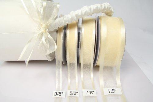 Ivory Organza Ribbon With Satin Edge-25 Yards X 5/8 - Ribbon Ivory Organza