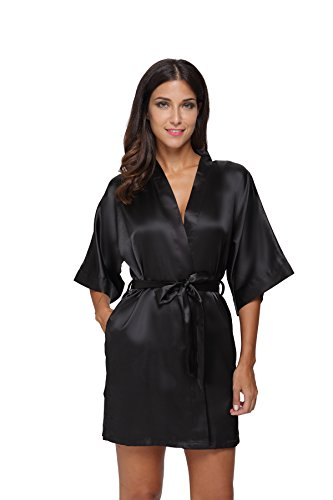 The Bund Women's Pure Colour Short Kimono Robes with Oblique V-Neck, Medium, Black