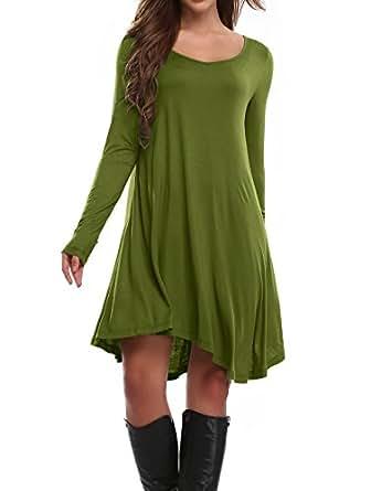 Women's Asymmetrical Hem Long Sleeve Casual Loose Flowy T-Shirt Dress