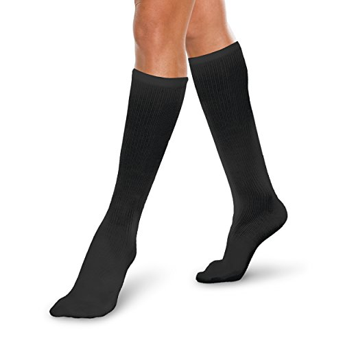 Therafirm Core-Spun 20-30mmHg Moderate Graduated Compression Support Knee High Socks (Black, XL)