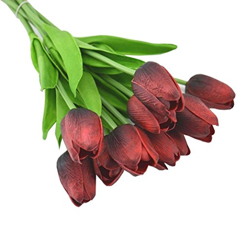 ty PU Stunning Holland mini tulip flower real touch wedding flower artificial flowers silk plants for room home hotel party Event christmas gift decoration multi-color (dark red) ()