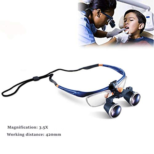 Dental Surgicial Loupes Dentist Medical Binocular 3.5X Magnification (420mm) Working Distance Burgundy Two-Way Adjustment Goggles