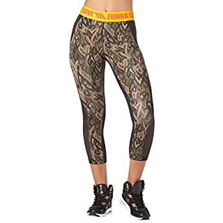 Zumba Fitness Wide Jacquard Waistband Workout Print Capri Leggings for Women, Army Green, L