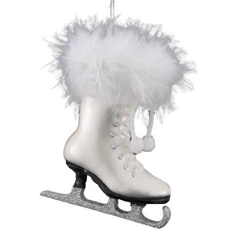 Christmas Ice Skating - Kurt Adler 4-1/4-Inch Noble Gems Glass White Ice Skate Ornament