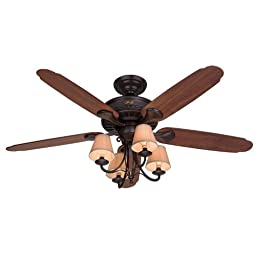 Hunter Fan 53094 Cortland Ceiling Fan with Five Dark Cherry/Walnut Blades and Light Kit, 54-Inch, New Bronze