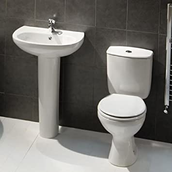 Earby Modern Close Coupled WC Toilet And Cistern With Bathroom Basin And  Pedestal Suite Set